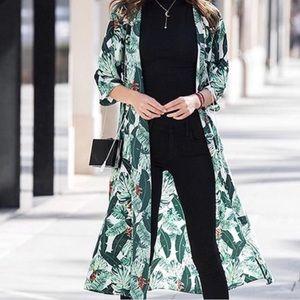 NWT! Rachel Zoe Green Palm Printed Duster Kimono